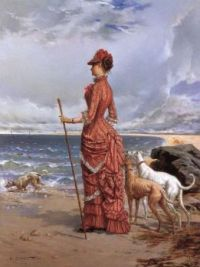 """Elegant Lady Walking Her Greyhounds on the Beach"""