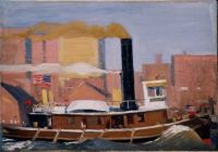 Edward Hopper (1882-1967) Tugboat with Black Smokestack, 1908