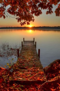 Boat dock at sunset