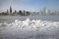 Ice forms along Lake Michigan in Chicago in 2014.