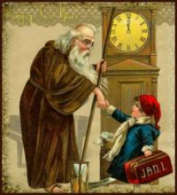 Theme: Holiday Magic - Father Time and Baby Time Shake Hands at the Turn of the Year.