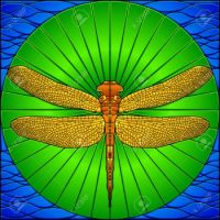 6656737-Stained-glass-dragonfly-Stock-Vector