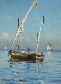 "Peder Mørk Mønsted,  ""Boats near the Coast at Port Cadiz, Spain"" 1892"