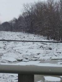 ice jam at bridge