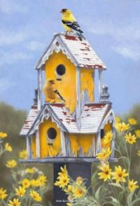 Birdhouse with happy birds