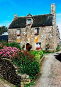 A garden in Locronan, Brittany, France