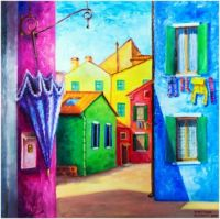 Burano Painting by Victoria Zhornik