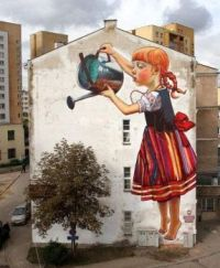 painted mural in the city
