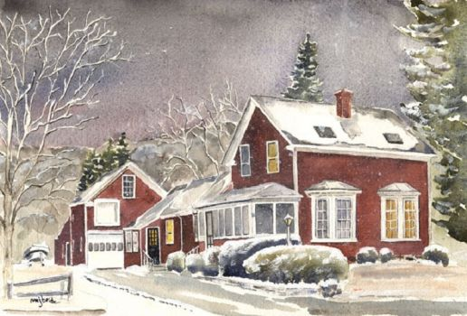Watercolor House in the Berkshires