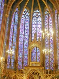 The front of the chapel at St. Chappelle, Paris, Sep 2019