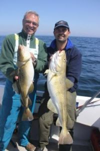 Felicien and Benny cod fishing on North Sea