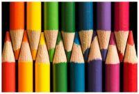 Color pencils arranged by color