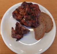 Steak with bread