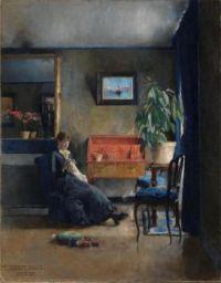 Harriet Backer (Norwegian, 1845–1932), Blue Interior (1883)