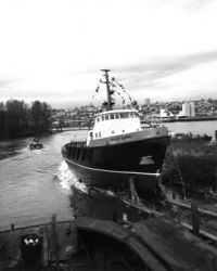 "Tug ""Hecate Crown"", going down the slipway, Lulu Island, Vancouver!!"