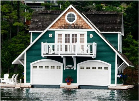 Green and White Boathouse
