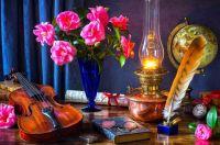 flowers, notes, pen, violin, watch, books, lamp, bouquet, glasses