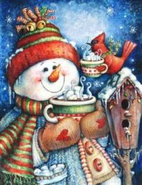 Snowmans little friend have a delicious hot chocolate