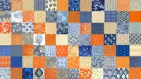 Orange, Gray and Blue and Beige