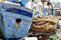 Moored Fishing Boat and Old Rope