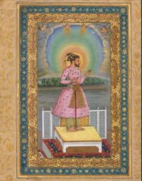 """Shah Jahan on a terrace, holding a pendant set with his portrait,"""" by Chitarman, Mughal India, 1627–28"""