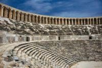 Seating about 15,000 people the theatre of Aspendos, in Turkey, was built around 170 AD and is one of the best preserved and most magnificent structures that exists from the Roman empire
