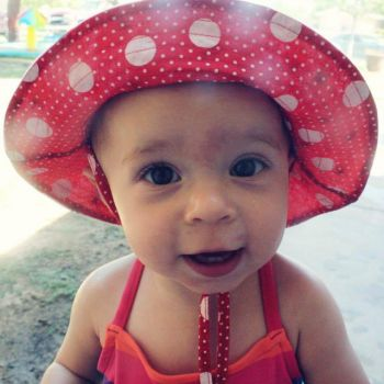 Emma in her hat, last summer