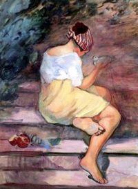 Girl With Dove - Henri Lebasque - 1914