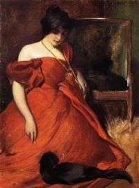 Art Portrait Girl with cat Red Dress