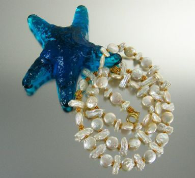 Glass Starfish and Pearls