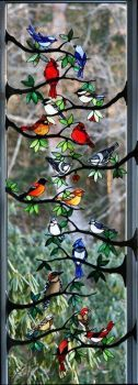 How very beautiful is this glass artwork titled 'Bird Branches' by Chippaway Art Glass