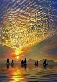 Fishing at sunrise in Hong Kong