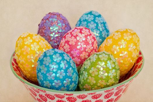 Colorfull Easter Eggs in pail