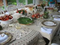 Table set for a lobster feast. Taken June 2010