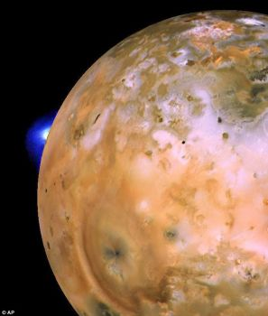 A picture of Io, one of Jupiter's moons, taken by Voyager 1.