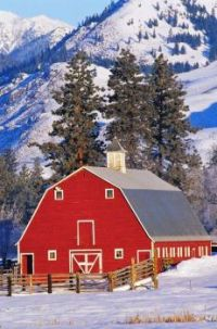 Red Barn by the Mountains...
