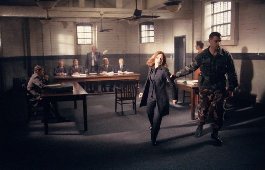 "Gillian Anderson in a still from the X-Files series finale ""The Truth"" (simpler version)"