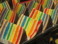 Bakery Display of Colorful Cake Slices