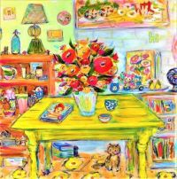 Chunky Yellow Table Holding an Exuberant Floral Arrangment