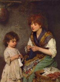 Eugene de Blaas - The Knitting Lesson