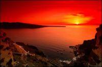 sunset in santorini-greek island..