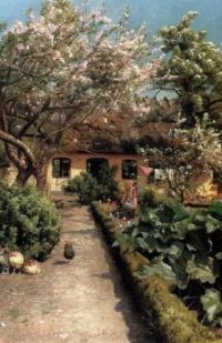 "Peder Mørk Mønsted,  ""Watering the Garden"""