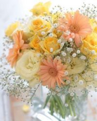 Happiness is….Dainty Peach Bridal Bouquet.