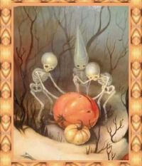Skeletons and Jack o Lantern