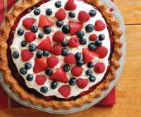 red, white and blue dessert pizza