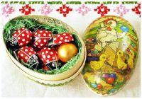 Nostalgic Wooden Easter Egg Box Stuffed with Chocolate LadyBugs