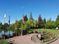 Today the flags are flying  in Bend Oregon with a beautiful blue sky as a backdrop.