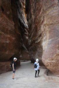 Walking through the Siq at Petra, Jordan