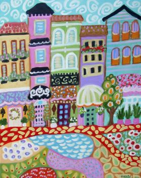 abstract-folk-art-landscape-modern-village-karen-fields