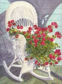 Rocking Chair with Geraniums